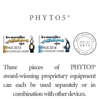 Three pieces of PHYTO5® award-winning proprietary equipment can each be used separately or in combination with other devices.
