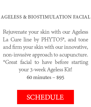 AGELESS & BIOSTIMULATION FACIAL - Rejuvenate your skin with our Ageless La Cure line by PHYTO5®, and tone and firm your skin with our innovative, non-invasive approach to acupuncture. *Great facial to have before starting your 3-week Ageless Kit! 60 minutes – $95.
