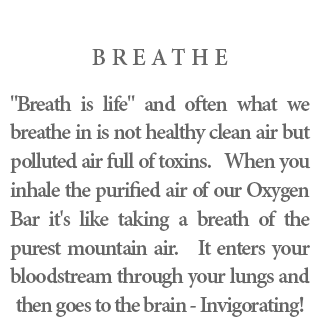 "Breathe - ""Breath is life"" and often what we breathe in is not healthy clean air but polluted air full of toxins. When you inhale the purified air of our Oxygen Bar it's like taking a breath of the purest mountain air. It enters your bloodstream through your lungs and then goes to the brain - Invigorating!"