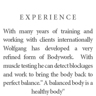 """Experience - With many years of training and working with clients internationally Wolfgang has developed a very refined form of Bodywork. With muscle testing he can detect blockages and work to bring the body back to perfect balance."""" A balanced body is a healthy body""""."""