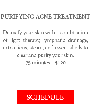 PURIFYING ACNE TREATMENT - Detoxify your skin with a combination of light therapy, lymphatic drainage, extractions, steam, and essential oils to clear and purify your skin. 75 minutes – $120.