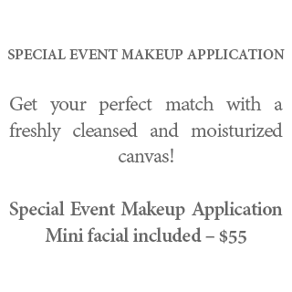 Special Event Makeup Application - Get your perfect match with a freshly cleansed and moisturized canvas! Special Event Makeup Application Mini facial included – $55