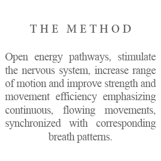 The Method - Open energy pathways, stimulate the nervous system, increase range of motion and improve strength and movement efficiency emphasizing continuous, flowing movements, synchronized with corresponding breath patterns.