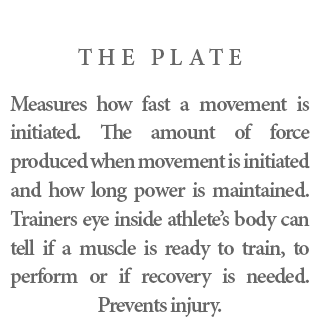 The Plate - Measures how fast a movement is initiated. The amount of force produced when movement is initiated and how long power is maintained. Trainers eye inside athlete's body can tell if a muscle is ready to train, to perform or if recovery is needed. Prevents injury.