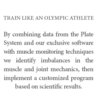 Train like an Olympic Athlete - By combining data from the Plate System and our exclusive software with muscle monitoring techniques we identify imbalances in the muscle and joint mechanics, then implement a customized program based on scientific results.